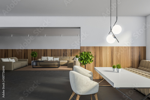 Obraz White and wooden cafe interior - fototapety do salonu