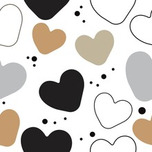 Print Hand-drawing Wild Hearts. Vector Seamless Pattern.