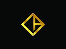 CA Square Shape Gold Color Logo