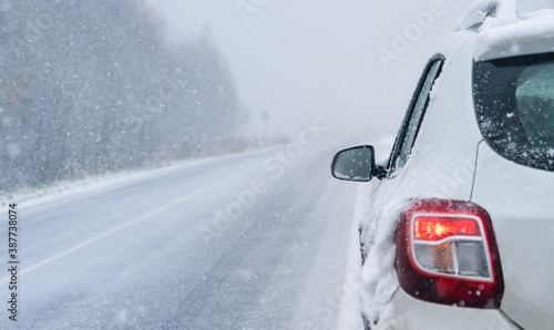 Obraz White car on a winter road through a snow covered forest. - fototapety do salonu