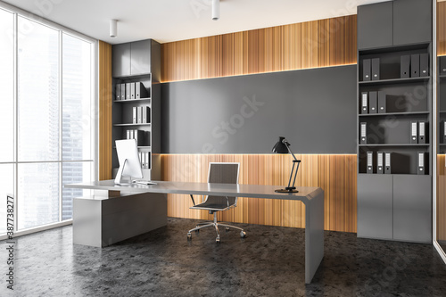 Fotografering Gray and wooden panoramic CEO office corner