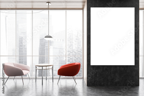 Obraz Mockup on black wall in office interior, two chairs with coffee table with view on the city - fototapety do salonu
