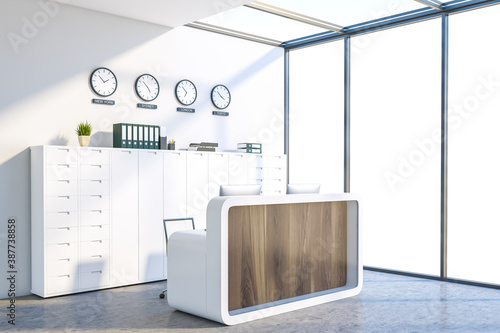 Obraz White office waiting room corner with reception and clocks - fototapety do salonu