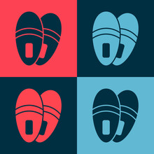 Pop Art Slippers Icon Isolated...