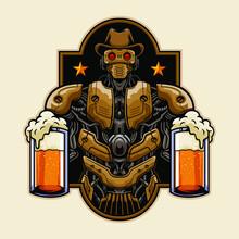 Cowboy Robot Bring Glass Of Beer Illustration Badge