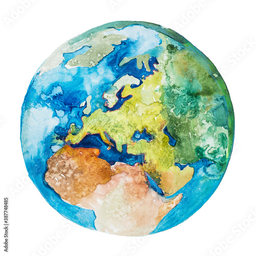 Obraz Europe and Africa on the globe. Earth planet. Watercolor. - fototapety do salonu