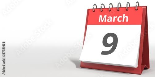 Fotografija March 9 date on the flip calendar page, 3d rendering