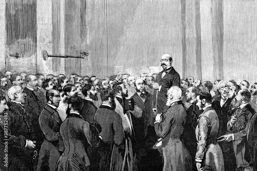 Fototapeta London, the stock exchange to receive the news of the attack and that Queen Victoria was unharmed