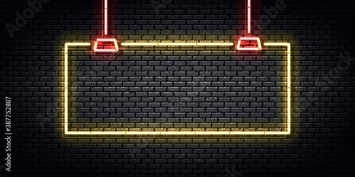Vector realistic isolated neon sign of hanging yellow frame for template and layout.