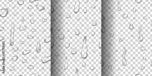 Obraz na plátně Vector set of realistic isolated water droplet seamless pattern for template decoration and covering on the transparent background