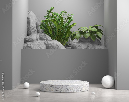 Obraz Mockup Geometry Podium Gray Scene With Natural Plant And Rock Background 3d Render - fototapety do salonu