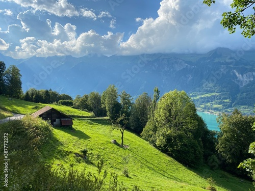 Foto Traditional rural architecture and family livestock farms on pastures in the Gie