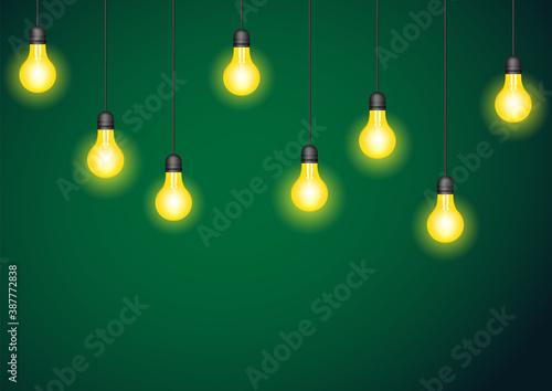 Photo Set of realistic glowing hanging lamp.
