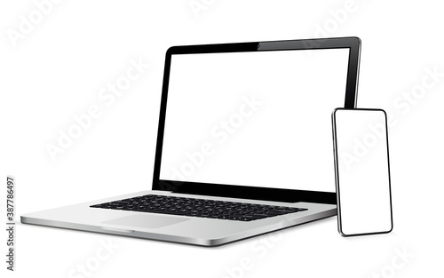 Fototapeta Modern smart phone and laptop with blank touch screen obraz