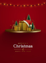 Merry Сhristmas And Happy New Year. Xmas Composition Golden Podium With Fluffy Pine Tree And Fir Trees, Gold 3d Gifts Boxes, Shiny Tinsel Confetti. Winter Greeting Desing. Holiday Vector Illustration