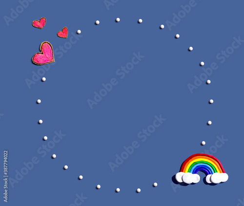 Obraz Appreciation theme with craft hearts and a rainbow - fototapety do salonu