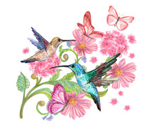 Fancy Decor Element With Pink Flowers, Flying Hummingbirds And Butterflies Around. Watercolor Painting