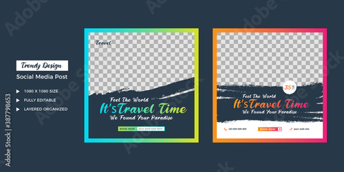 Fototapeta travel agency social media post template. Web banner, flyer or poster for travelling agency business offer promotion. Holiday and tour advertisement banner design. obraz na płótnie