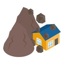 Landslide Icon. Isometric Illustration Of Landslide Vector Icon For Web