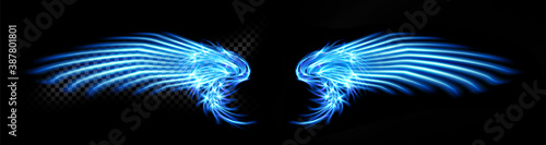 Abstract neon glowing blue angel wings Canvas Print