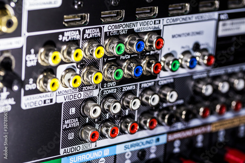 Fotomural Closeup of the backside of an AV receiver