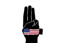 """Protester Show Three Fingers Salute With USA Flag And Texture """"NED"""" Is National Endowment For Democracy On White Backgeound."""