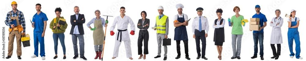 Fototapeta People representing diverse professions