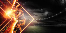 Silhouette, The Image Of A Baseball Player With A Bat On The Background Of The Stadium. Online Sports Concept, Betting, American Game.