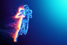 Silhouette Of An American Football Player On Fire On A Blue Background. Concept For Sports, Speed, Bets, American Game. 3D Illustration, 3D Render.
