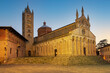 View of the Cathedral of Saint Cerbonius with Bell tower at the Garibaldi place in Massa Marittima, taken at night Maremma, Tuscany - Italy