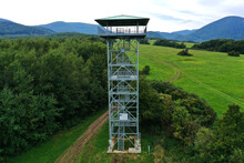 Aerial View Of The Zlatnik Lookout Tower In The Slanské Vrchy Locality Near The Village Of Bystre In Slovakia
