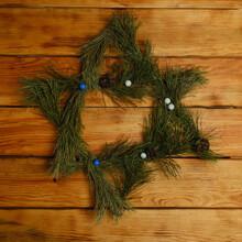 The Symbol Of Hanukkah. Star Of David. Spruce Branches. Happy Hanukkah 2021
