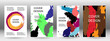 Cover design. Set of covers. Paint strokes. A4 background with multicolored strokes. Design template for the design of banners, posters, booklets, reports, magazines. EPS 10
