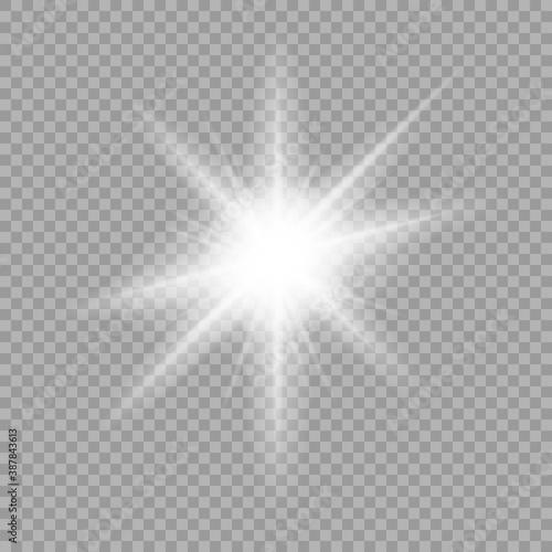 Obraz na płótnie White glowing light burst explosion with transparent