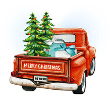 Watercolor Red Christmas Vintage Truck With Trees And Gifts