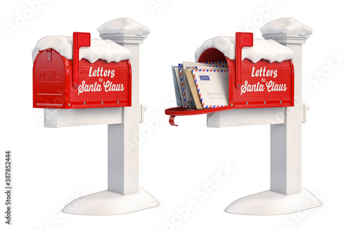Photo Santa Claus mailbox full of children letters isolated on white