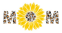 Leopard Sunflower Mom Print Vector Illustration For Chirt