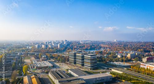 Obraz na plátně Miasto Katowice, Panorama centrum śródmieścia - wieżowce / ŚLĄSK - Południe Pols