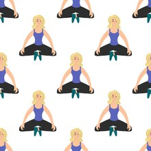 Seamless Pattern With A Relaxed Matchless Girl In Meditation On A White Background. Women's Yoga In A Flat Style. Performing Asanas. Ancient Spiritual Practice. Stock Vector Illustration For Design