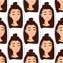 Seamless Pattern With The Avatar Of A Matchless Girl On A White Background. Profile Of A Young Woman In Front In A Flat Style. Joyful Relaxed Faces Of People. Stock Vector Illustration For Design