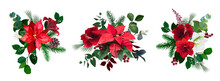 Merry Christmas Floral Vector Bouquets Set