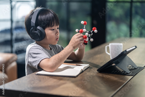 Tableau sur Toile Asian little boy assembling molecular model by learning from home