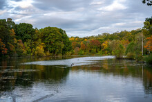 Hudson River In Upstate New York In Autumn Colors. Vibrant Colorful Trees Along The Riverbank And Some Ducks Swimming In The Water