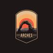 Emblem patch logo illustration of Arches National Park on dark background