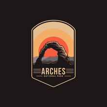Emblem Patch Logo Illustration Of Arches National Park On Dark Background