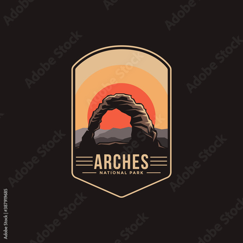 Valokuva Emblem patch logo illustration of Arches National Park on dark background