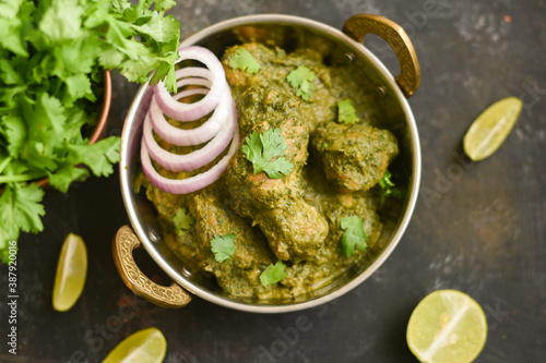 Leinwand Poster Green chicken Curry , Chicken Hariyali Tikka,    Chicken Hara Masala , chicken hariyali Indian style