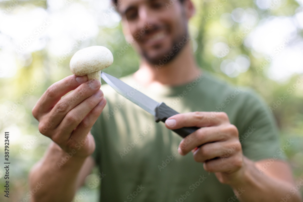 Photo going mushroom-hunting in the forest