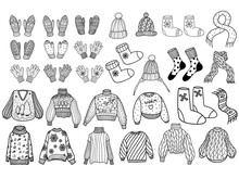 Collection Of Knitted Winter Clothing. Knitted Woolen Winter Clothig. Vector Illustration In Doodle Style