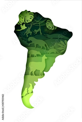 Naklejka premium Wildlife of South America, world continent. Vector illustration in paper art style. Mainland South America map with nature and llama, tapir, jaguar, cingulata, monkey, penguin wild animals silhouettes